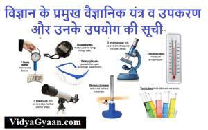 विज्ञान के प्रमुख वैज्ञानिक यंत्र व उपकरण और उनके उपयोग की सूची