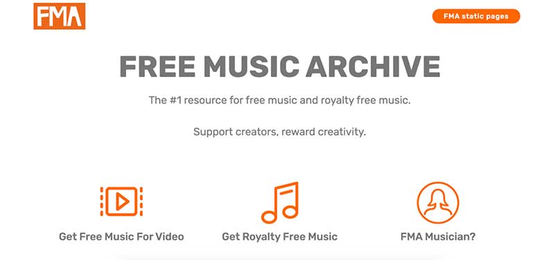 A screenshot of Free Music Archive homepage which offers background music for videos.