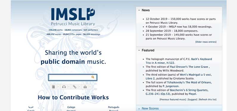 A screenshot of IMSLP homepage which offers background music for videos.