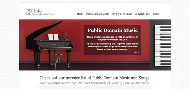 A screenshot of Public Domain Music homepage which offers background music for videos.