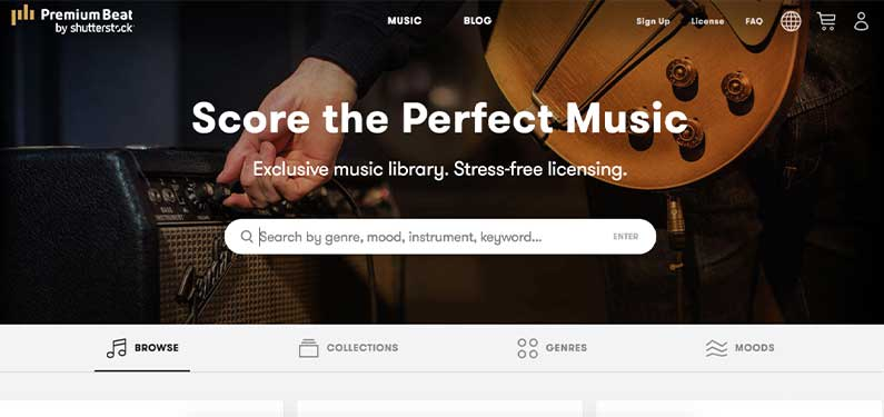A screenshot of Premium Beat homepage which offers background music for videos.