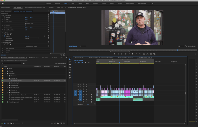 a documentary timeline in video editing software