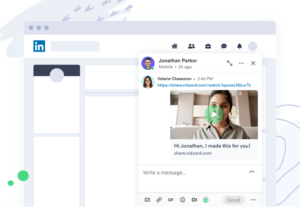 Screenshot view of a direct video message in LinkedIn using Vidyard for social selling.