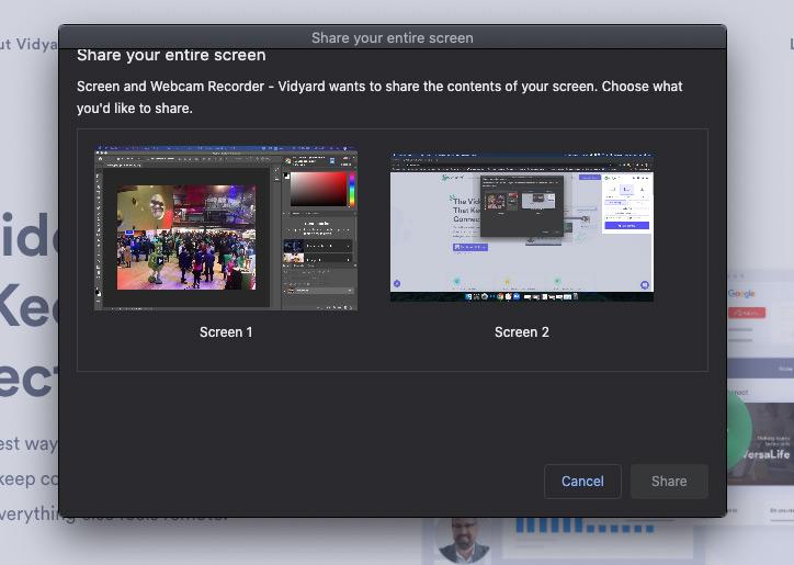 screenshot showing screen selection options in Vidyard Chrome extension
