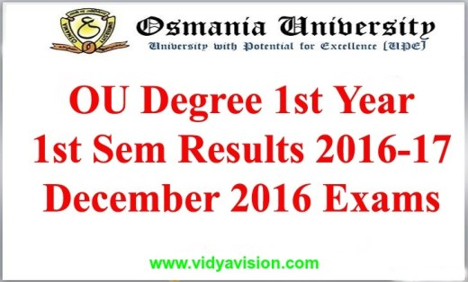 OU Degree 1st Sem Results 2016