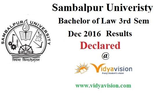Sambalpur University Law 3rd sem Results 2016