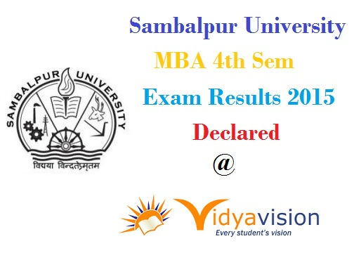 Sambalpur University MBA 4th Sem Dec 2015 Results