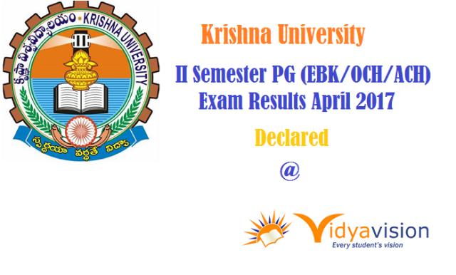 KRU II Semester PG Exam Results April 2017