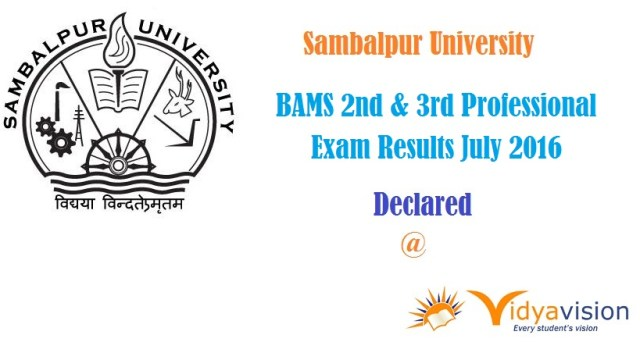 Sambalpur University BAMS 2nd & 3rd Professional Exam Results July 2016