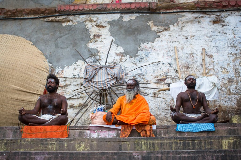 VARANASI, INDIA – MAR 15, 2018: Sadhu (holy man) on Dashashwamed