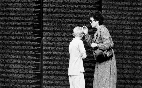 Mom and son at The Wall