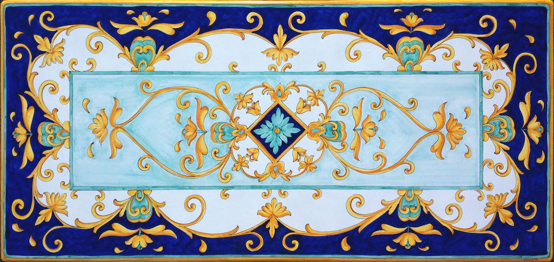Tavolo vietrese  Piano in lavica ceramizzato Barocco Blu