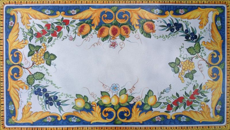 Tavolo vietrese  Piano in pietra lavica Barocco Frutta di