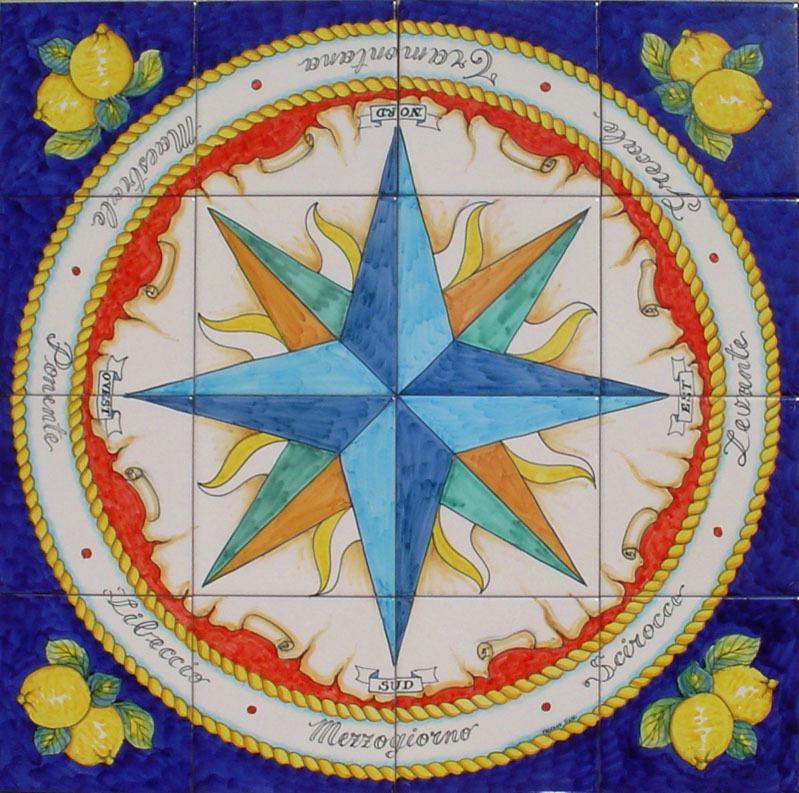 Pannello Rosa dei Venti 80x80 cm Mappa Venti Ceramiche di