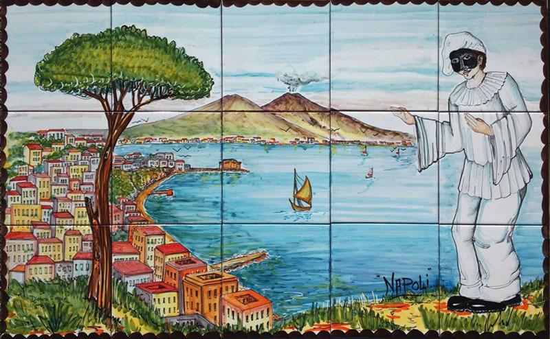 Pannello Vesuvio e Pulcinella 100x60 cm  Ceramiche di Vietri