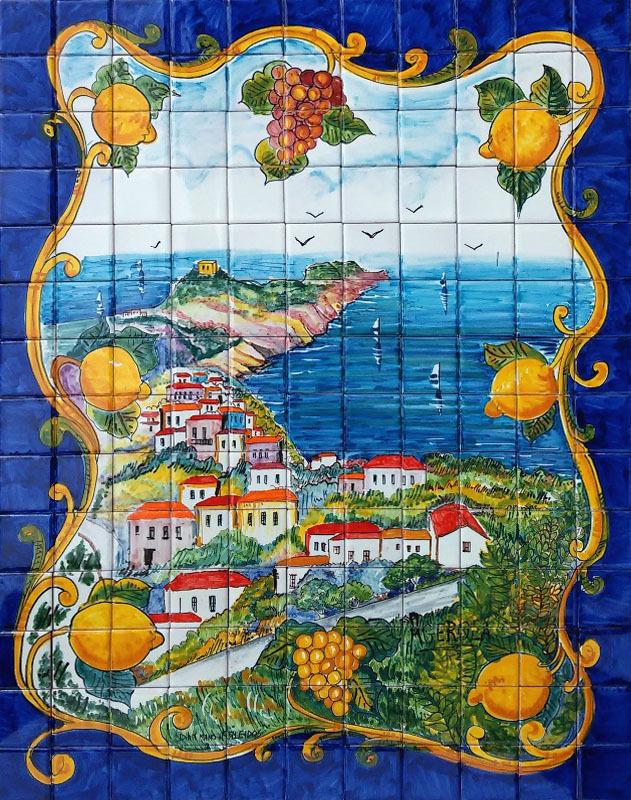 Pannello Mosaico Costiera Amalfitana Blu 55x70  Ceramiche