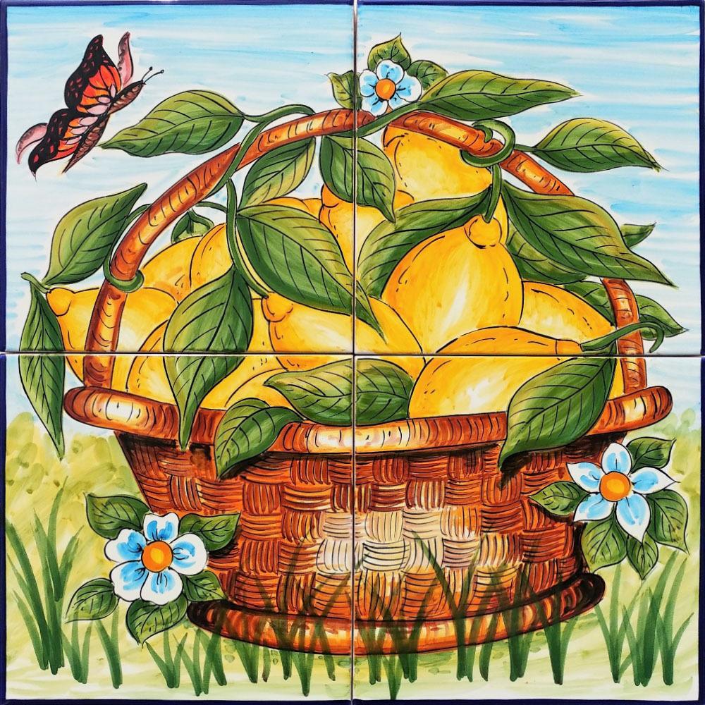 Pannello Murale in Ceramica Cesta di Limoni 40x40 cm  Ceramiche