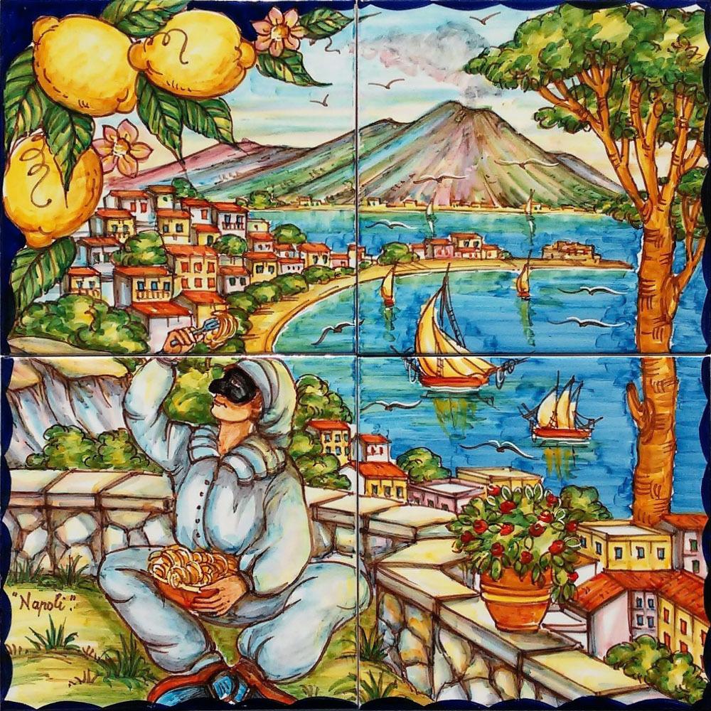 Pannello Artistico Golfo di Napoli e Pulcinella 40x40cm