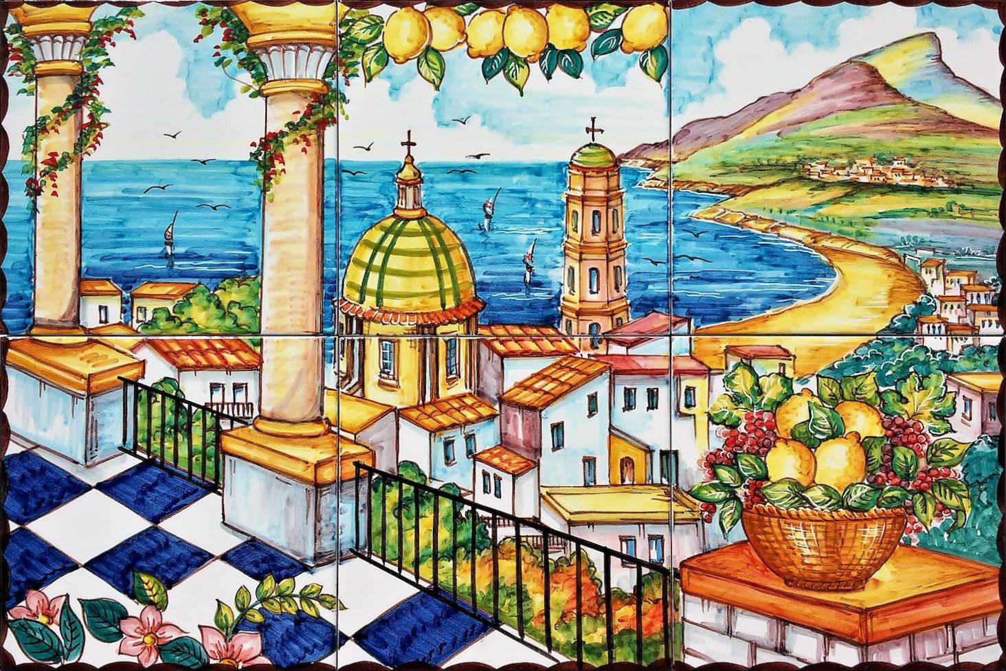 Pannello in Ceramica Veduta Costiera Amalfitana 60x40  Vietri