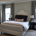 Master bedroom with diy curtains and a diy bed at www viewalongtheway