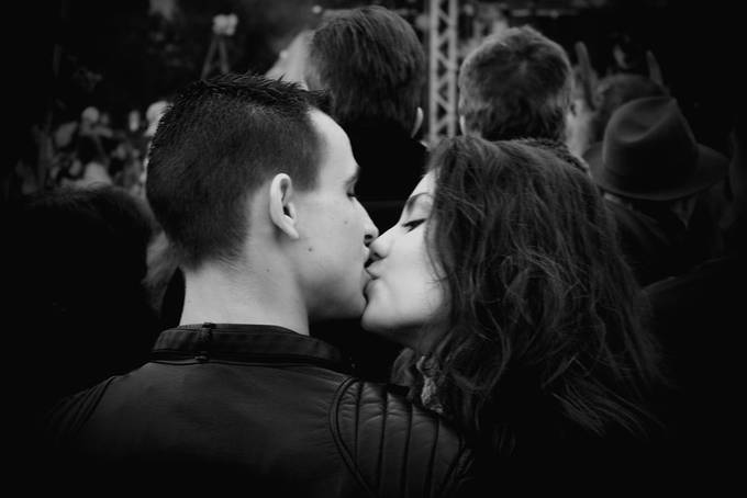 Kiss in the crowd by peterkitanov - Love Photo Contest 2019