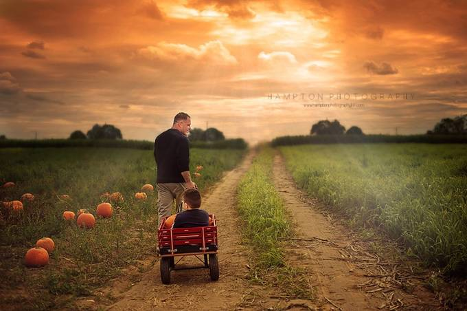 Pumpkin picking with Dad by HamptonPhotography - Orange Tones Photo Contest