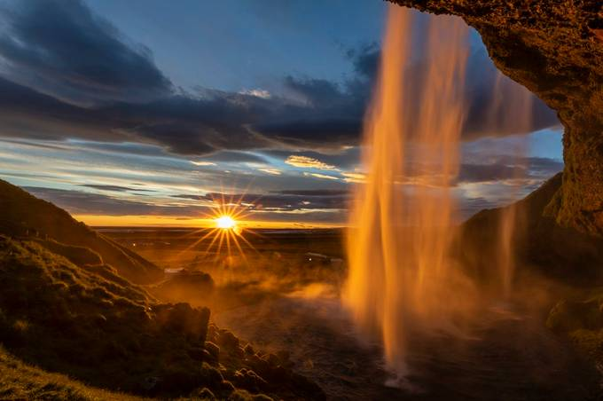 Sunburst at Seljalandsfoss by Jonrunar - Image Of The Month Photo Contest Vol 37