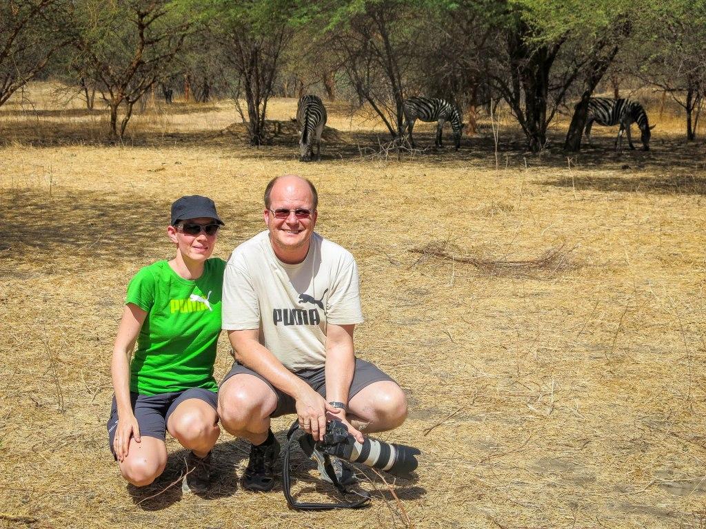 Eva und Peter mit Zebras im Park Bandia