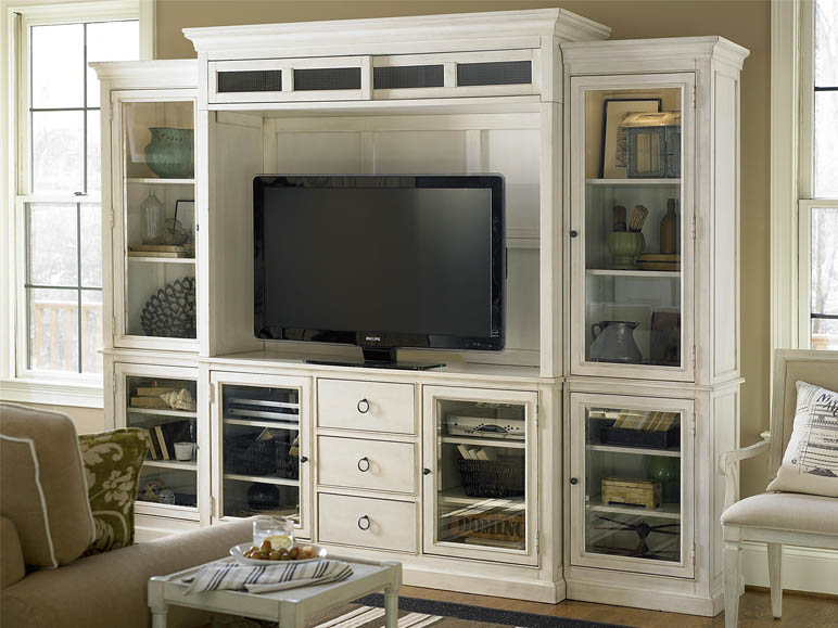 living room built in wall units decor ideas using grey entertainment console with hutch