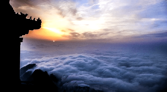 The sky during sunrise in Mt Wudang