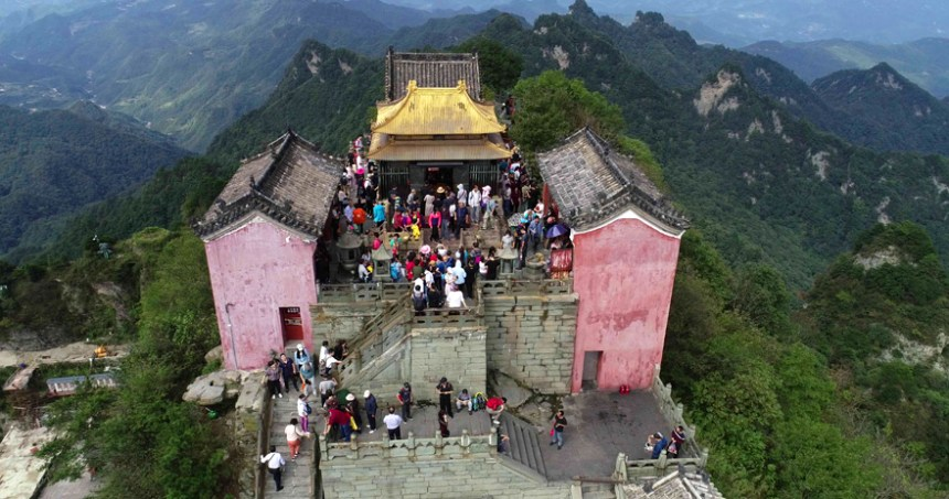 Visitors in Taoist temple in Mt. Wudang