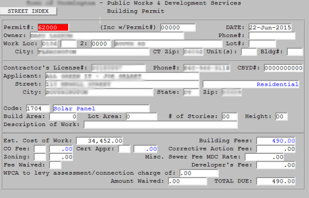 Example old permit entry software