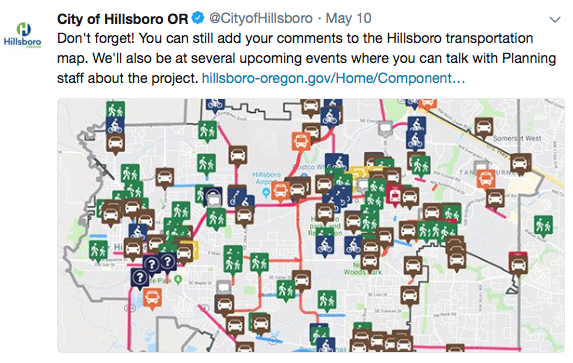 City of Hillsboro OR Call For Comments | Transportation Map