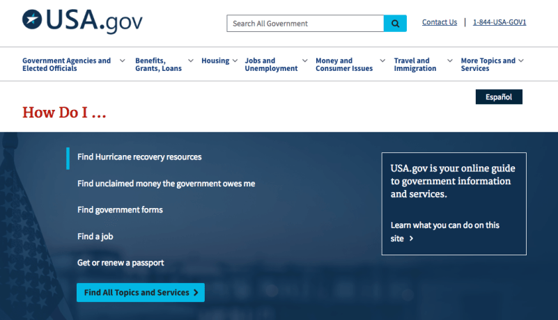 USA.gov user-friendly homepage | Customer Journey Mapping | ViewPoint Cloud