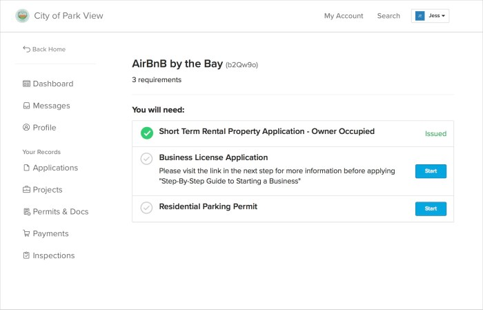 AirBnB Permitting | My Account in ViewPoint Cloud