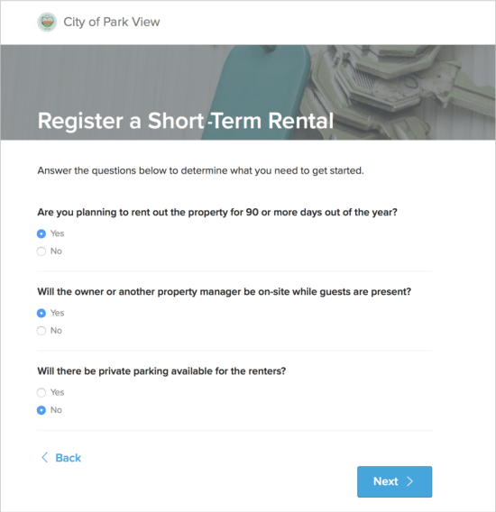 Register a Short-Term Rental Survey | ViewPoint Cloud ePermitting