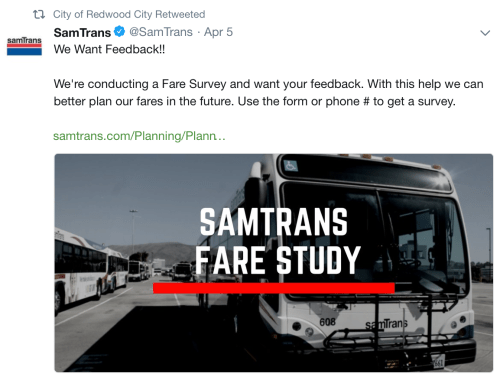 San Mateo Transit City of Redwood Fare Survey