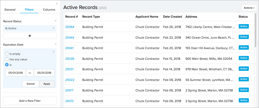 ViewPoint Cloud Reporting Filters