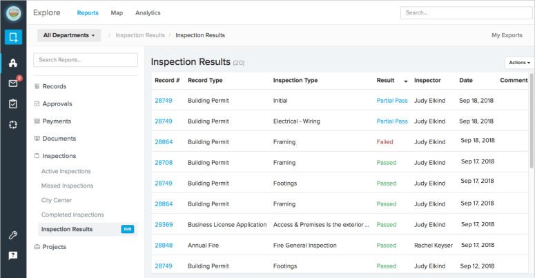 Reporting on Inspections | ViewPoint Cloud 3 Online Permitting