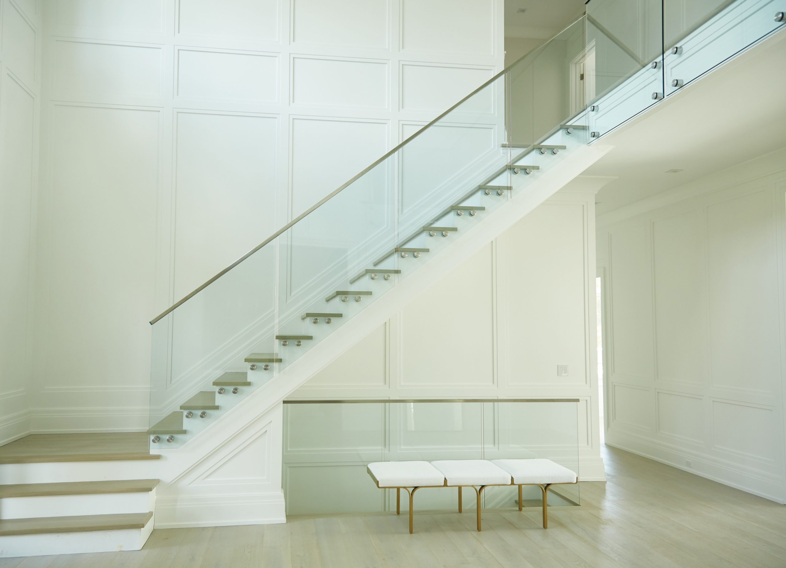 Interior Glass Railing Viewrail | New Handrail For Stairs | Traditional | Wall Both Side | Contemporary | Mission Style | Wrought Iron