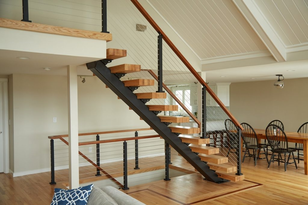 Straight Staircases Single Stringer Metal Staircases Viewrail | Metal Stairs With Wood Treads | Straight Steel | Single Steel Stringer | I Beam | Metal Railing | Timber