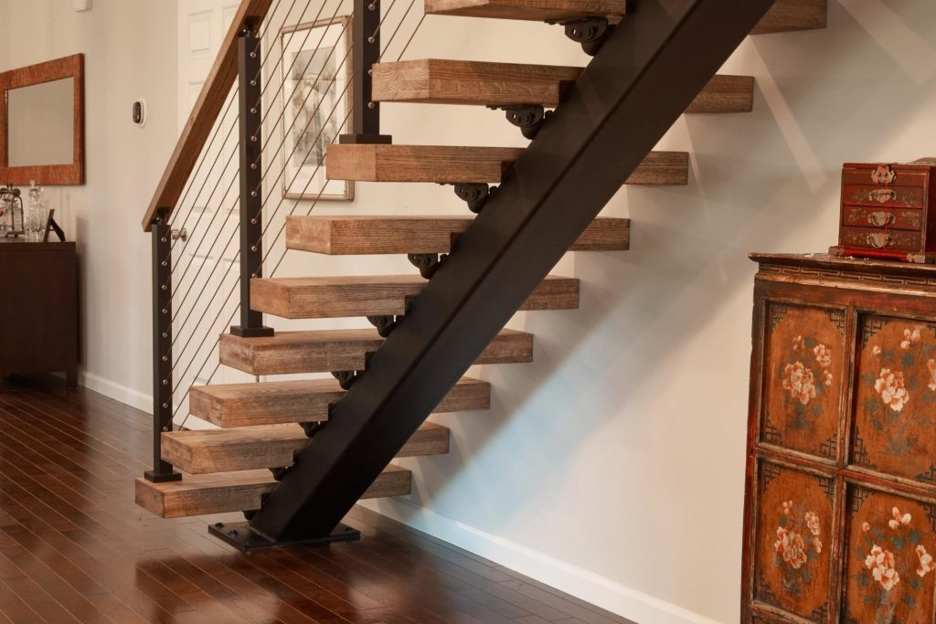 Straight Staircases Single Stringer Metal Staircases Viewrail | Metal Staircases For Homes | Beam | Stainless Steel | Support | Statement | Metallic