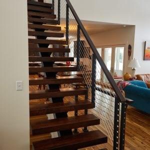 Stainless Steel Railing Rod Stair Railing Kits Posts Parts | Black Horizontal Stair Railing | Room | Split Entry | Steel | Modern | Metal