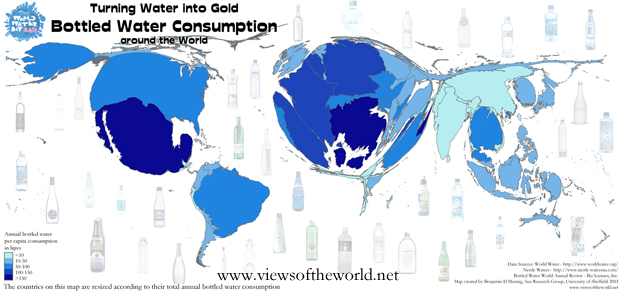 Cartogram / Map of the Global Bottled Water Consumption (total and per capita)