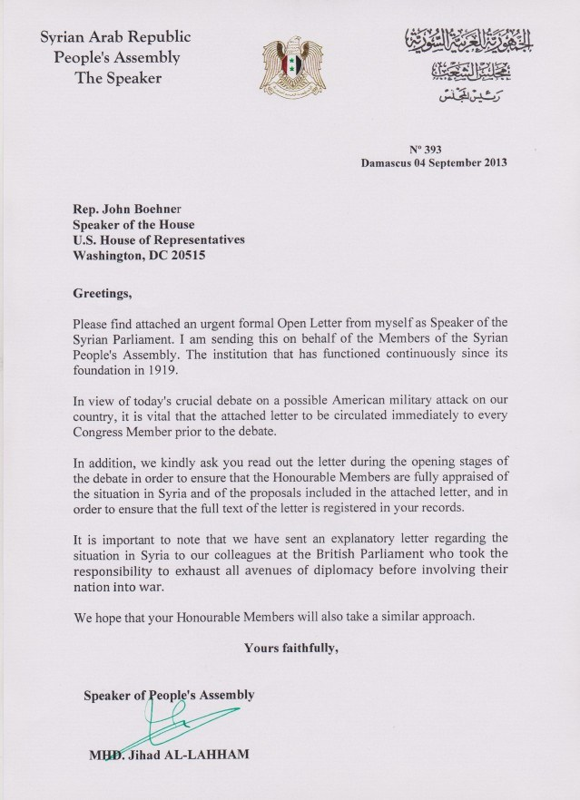 Letter to US Speaker  by Syria.jpg