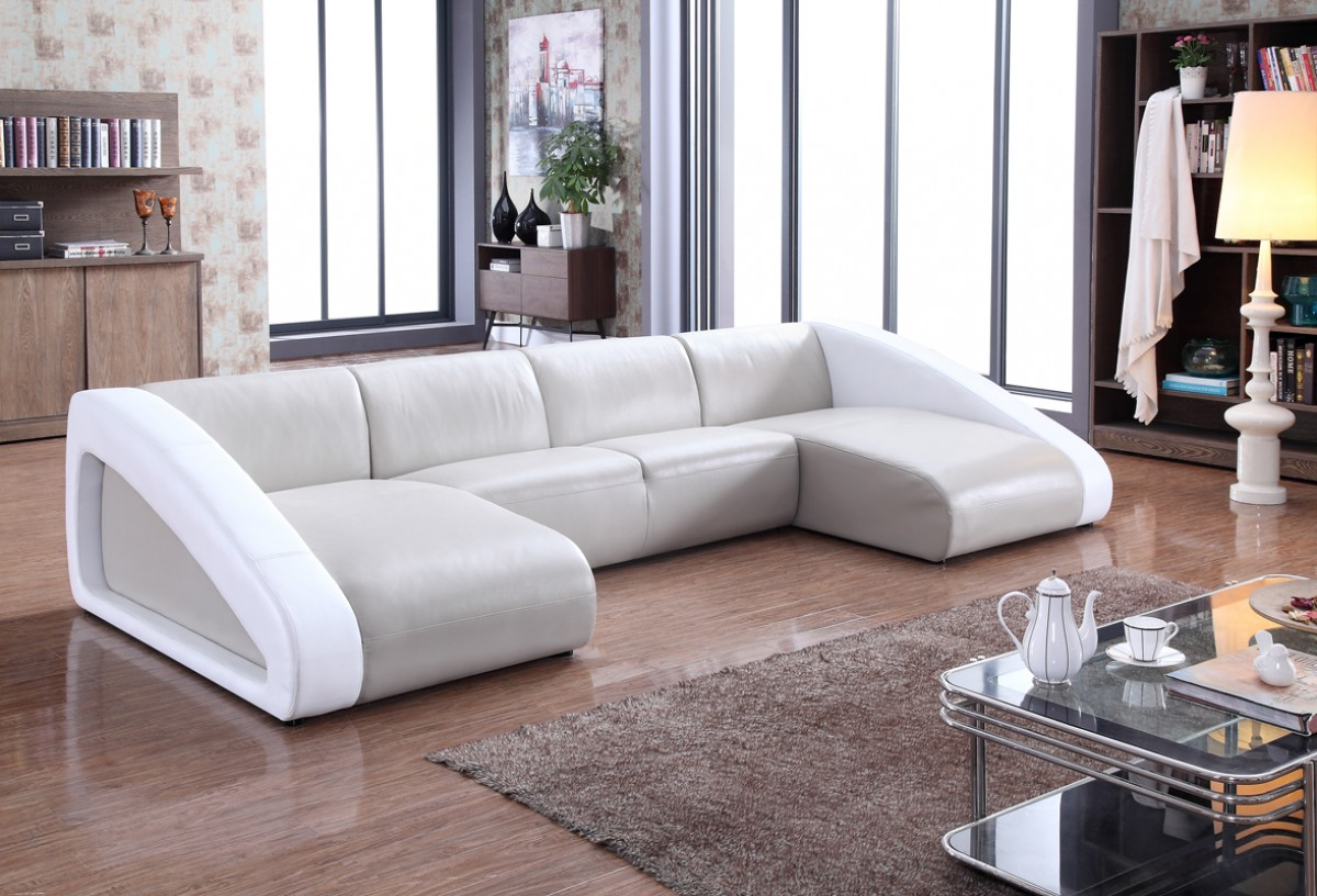 pratts leather sofas chesterfield chaise end sofa divani casa pratt modern grey and white sectional