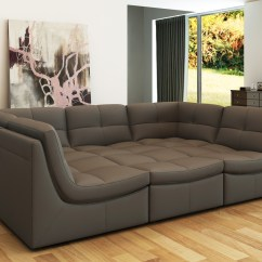 Lusso Horizon Modern Grey Fabric Leather Sectional Sofa And Loveseat Divani Casa 207 Bonded