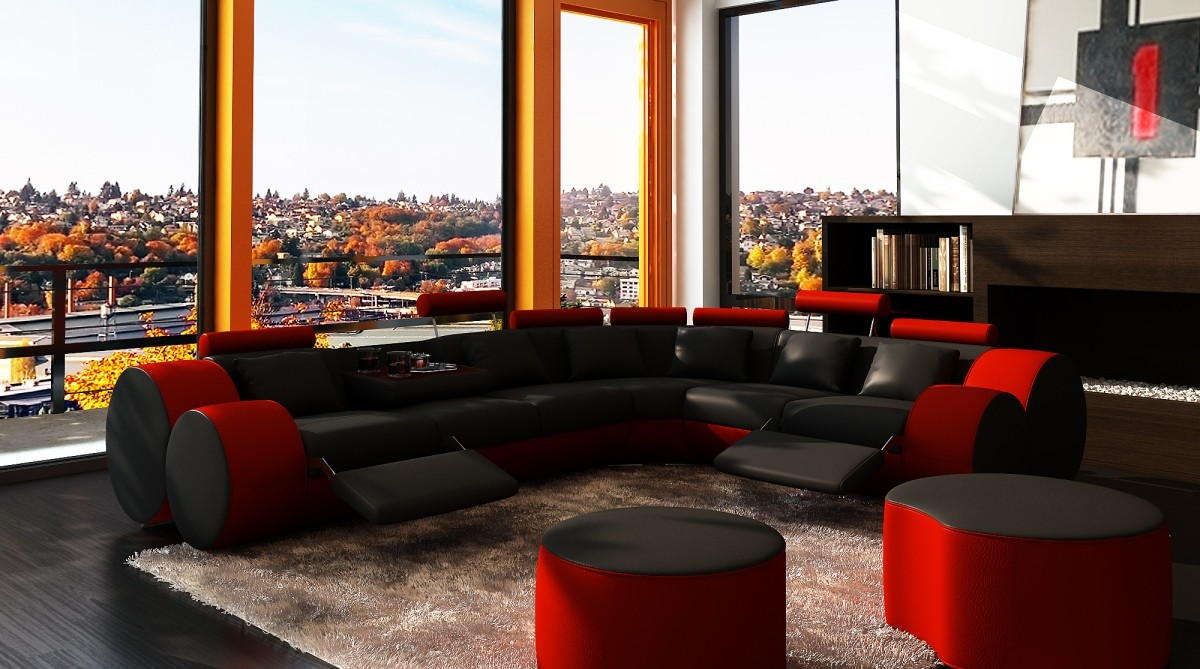 living room black leather sectional floor lights for divani casa 3087 modern and red bonded gallery image 191 116