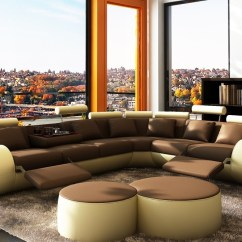 Modern Bonded Leather Sectional Sofa With Recliners Abbey Divani Casa 3087 Coffee Table