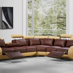 White Leather Sectional Sofa With Recliner Bizkaia Divani Casa 4087 Modern Bonded Reclining Gallery Image 112 128